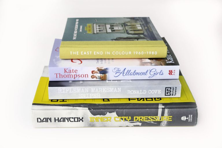 Pile of books about the East End of London