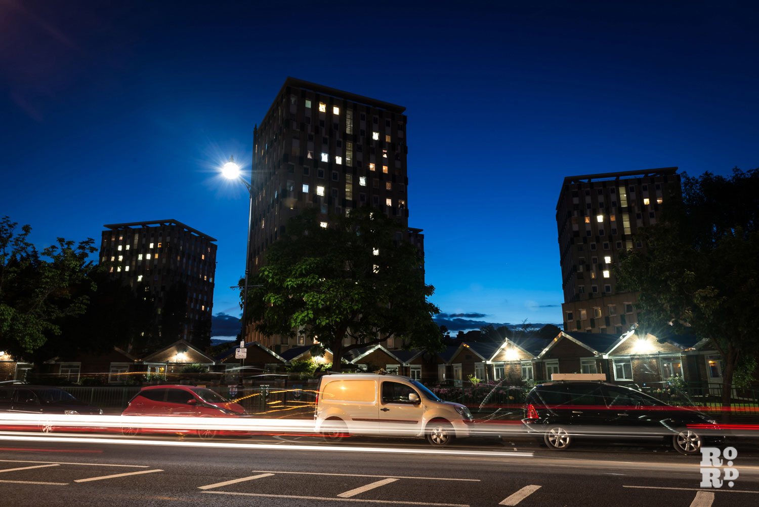 Claire Watts photograph of Cranbrook Estate 9 Cranbrook estate at night with cars passing by