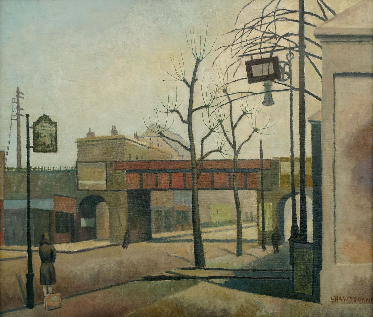 Oil painting showing a view of an almost deserted Bow Road