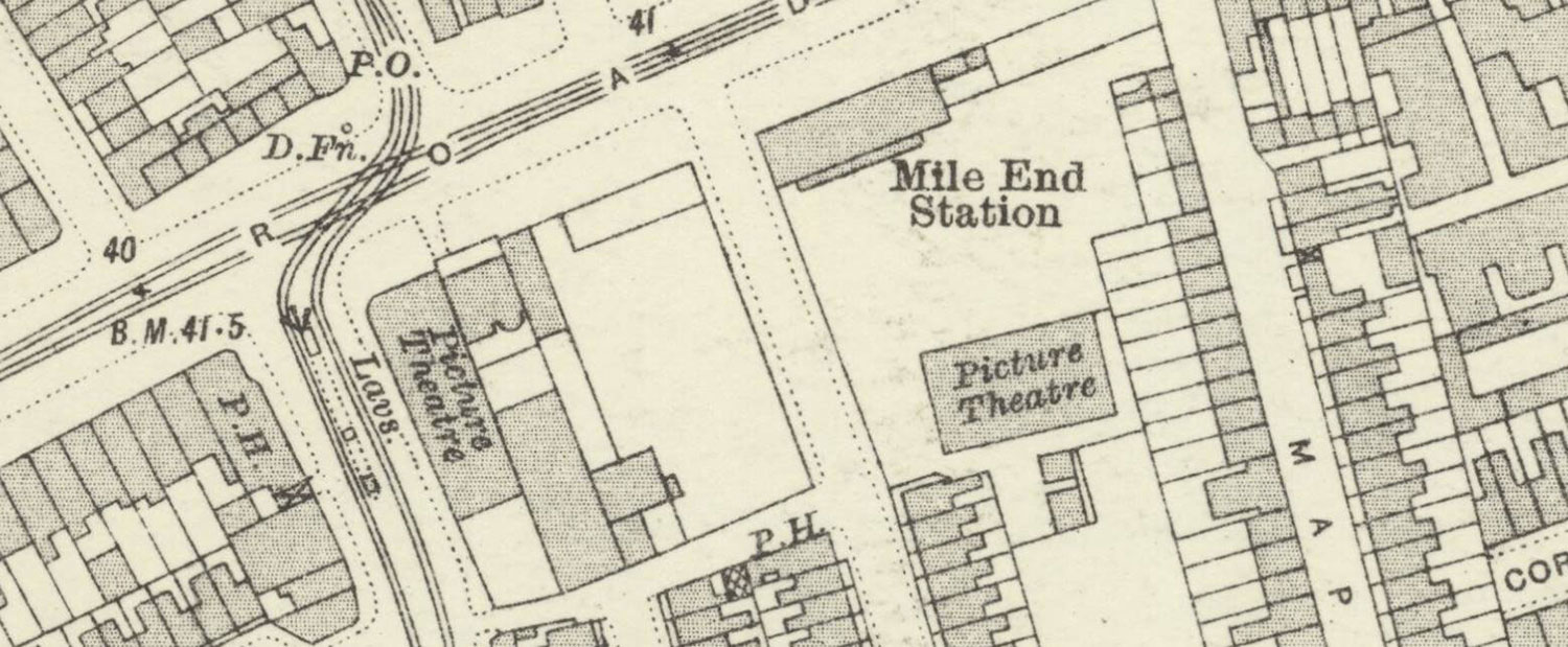 map of mile end station with picture houses