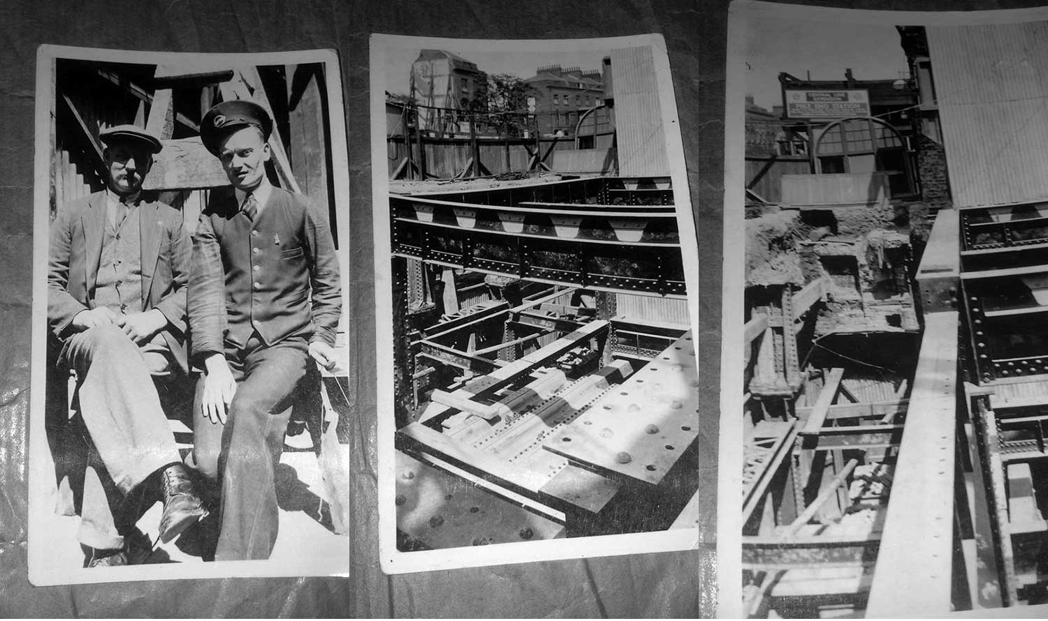 Mile End tube station construction archive- Suzanne's dad on the right