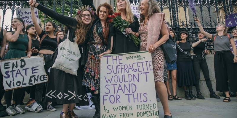 Modern suffragette demonstration women with placards