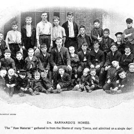 Photo showing a group of young children outside a Barnardo's home