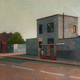 Painting showing a bus stop outside a house