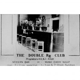 Business card for The Double R Club, the Kray Twin's notorious club on Bow Road