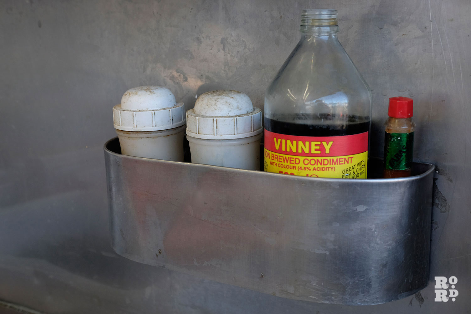 The DIY station with Vinneys non-brewed condiment, salt, pepper and tabasco