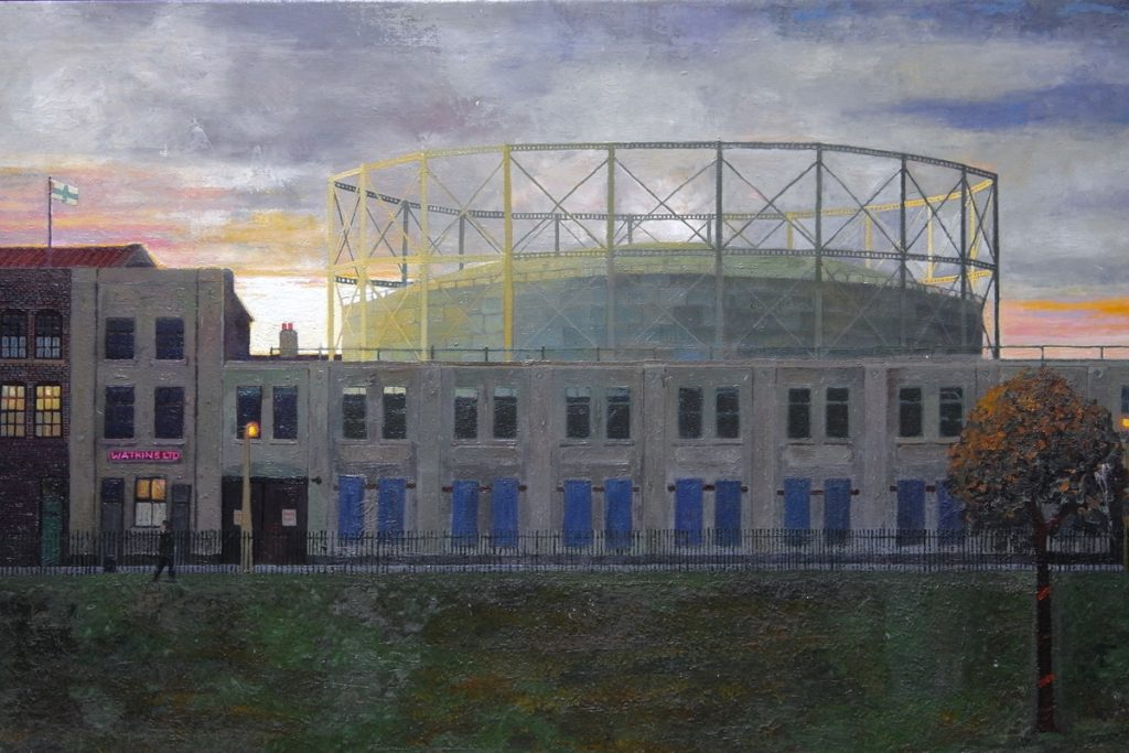 Painting of the gasworks and warehouses from Mile End Park