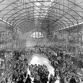 Black and white engraving showing the ironwork interior of the Bethnal Green Museum of childhood