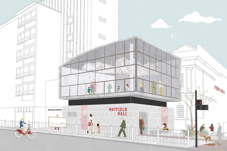 A digital sketch of a building