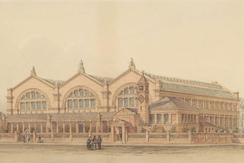 Detail of architect's watercolour design for Bethnal Green Museum