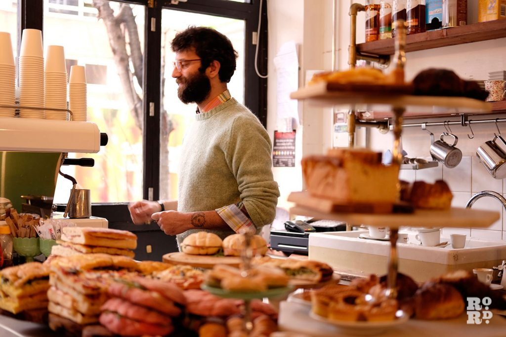 Fresh pastries and cakes at Quarantacinque on Roman Road, Globe Town, East London