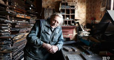 Gary Arber upstairs in his stationery shop on Roman Road in 2014.