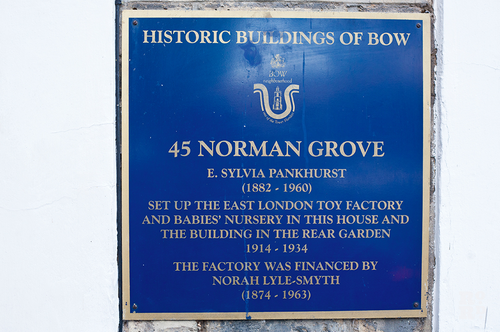 Blue plaque showing Historic Buildings of Bow, 45 Norman Grove, Sylvia Pankhurst Toy Factory