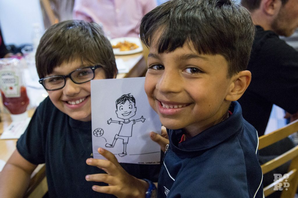 Boys sketched by Sara Pitta at Word & Chips Evening Meets, Roman Road Festival