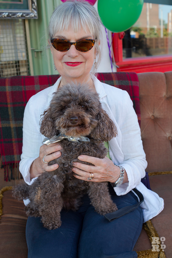 Toy poodle George with owner Carolyn Richardson Pooch Portraits