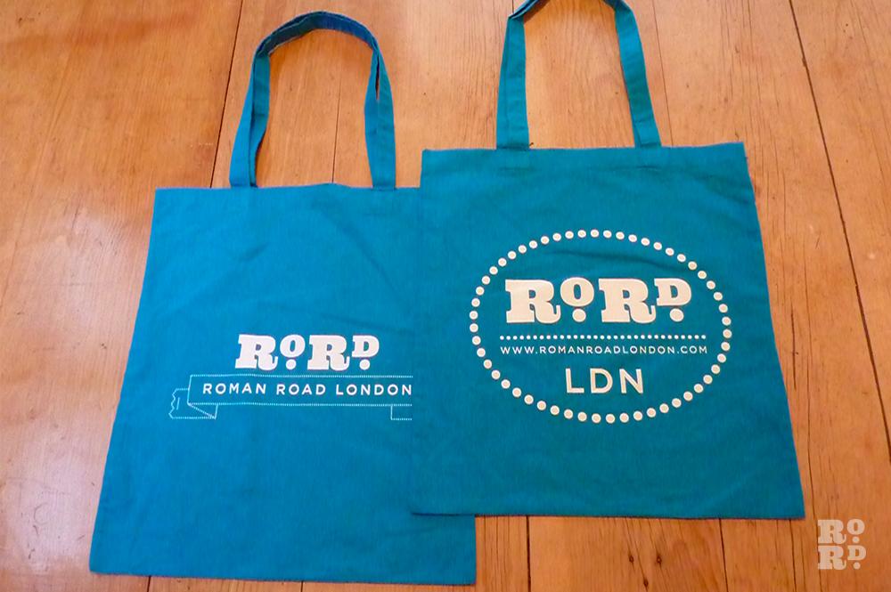 Cyan blue cotton Roman Road tote shopping bag.