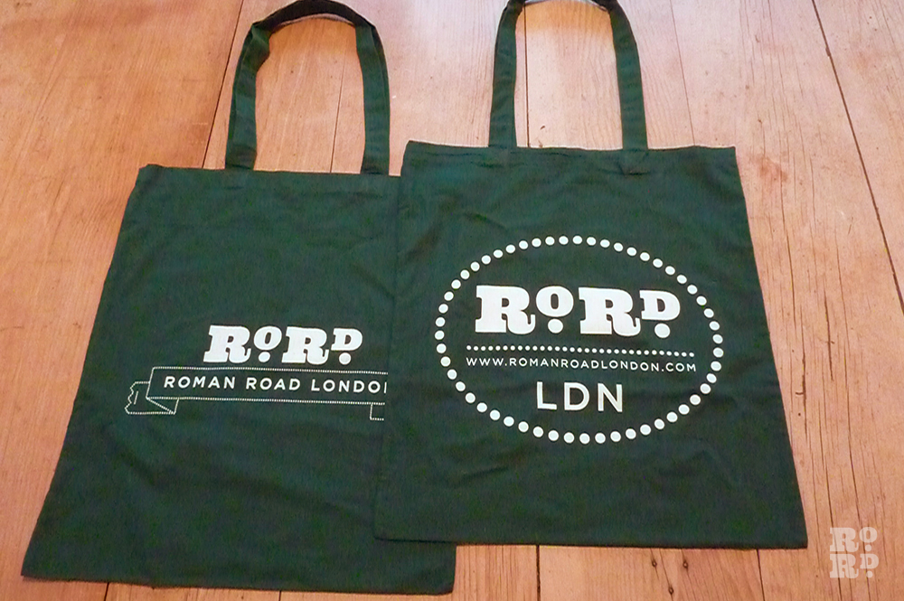 Holly green cotton Roman Road tote shopping bag.