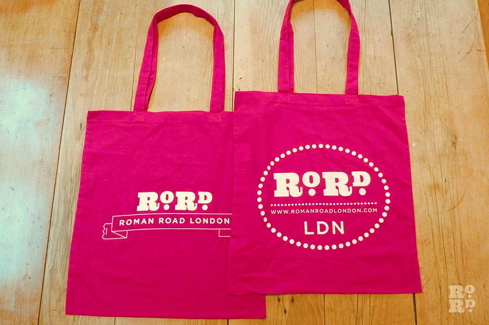 Shocking pink cotton Roman Road tote shopping bag.