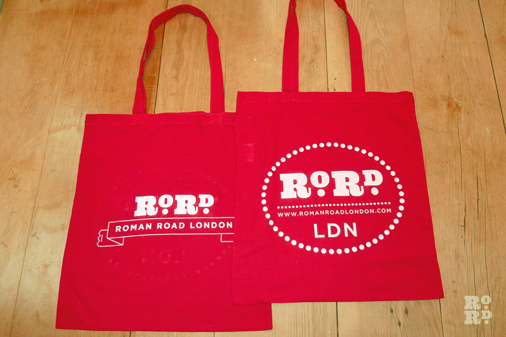 Berry red cotton Roman Road tote shopping bag.