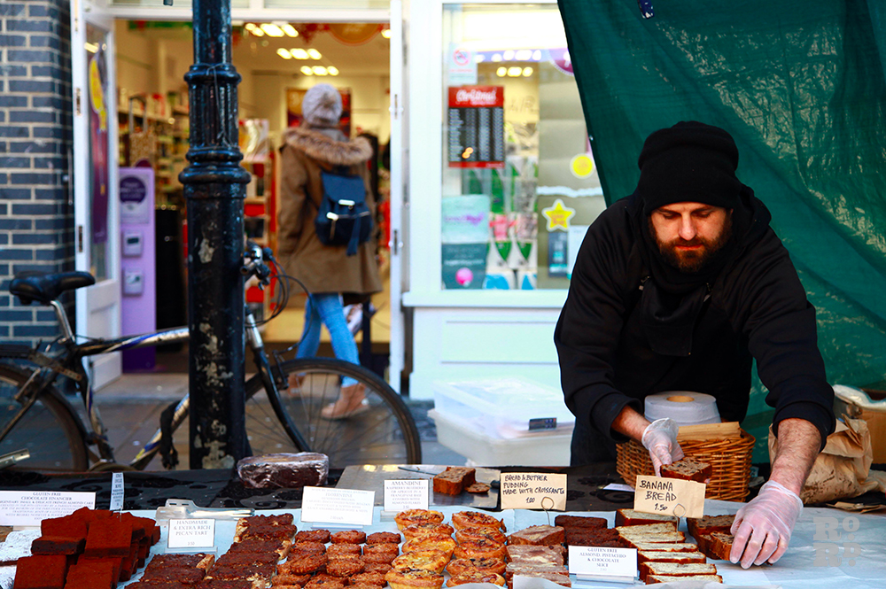 Street food stall selling french patisseries.