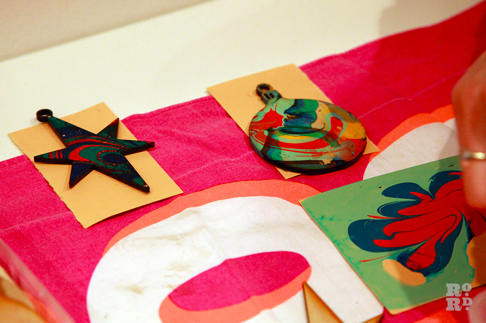 Home made marbled wooden tree decorations.