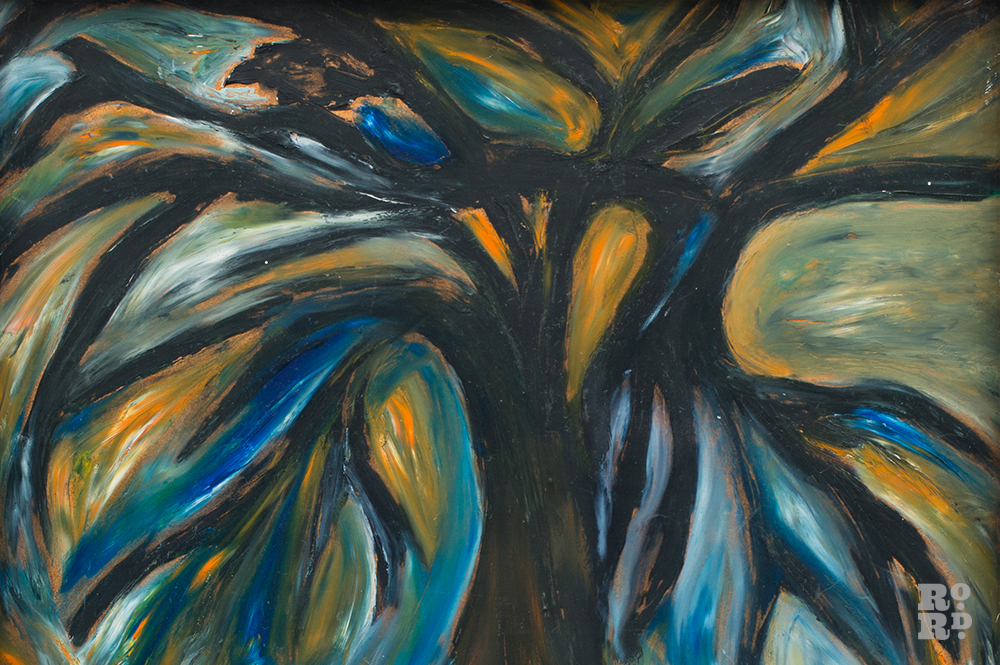 Paiting by Mary Barnes showing a tree morphing into a bird.