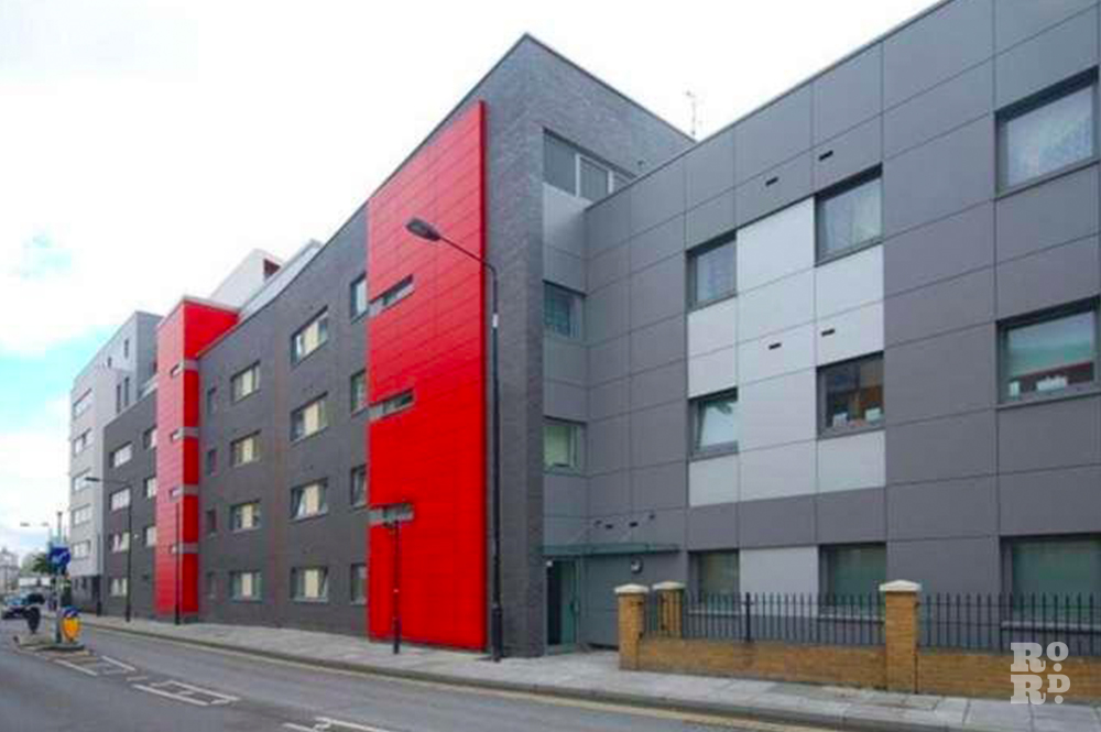 The red and graphite facades of Mojo's development on Tredegar Road where it meets the A12.