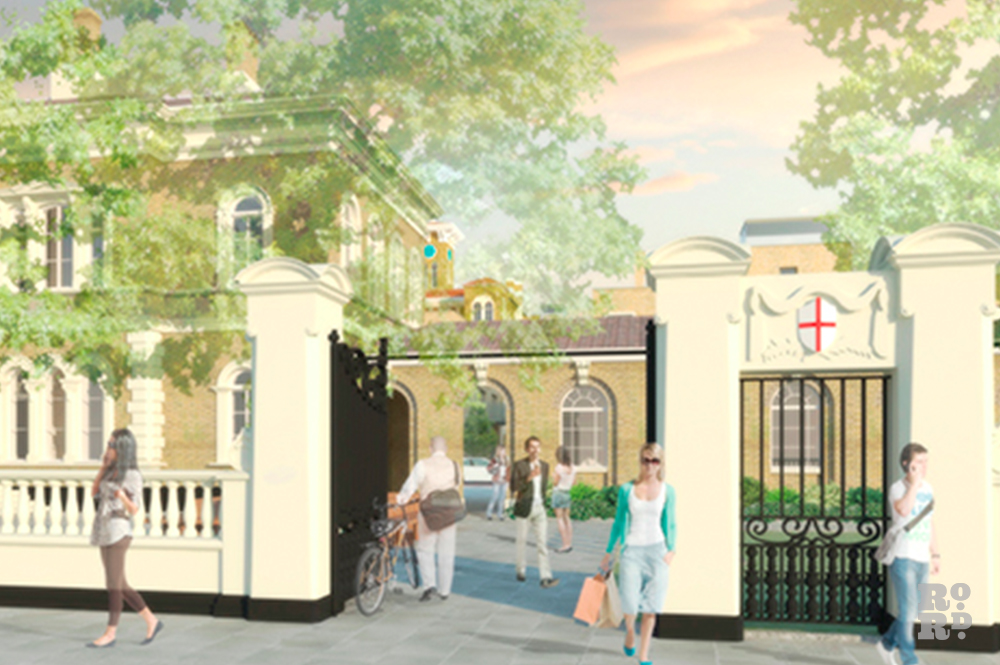CGI image of St Clement's Hospital housing development.