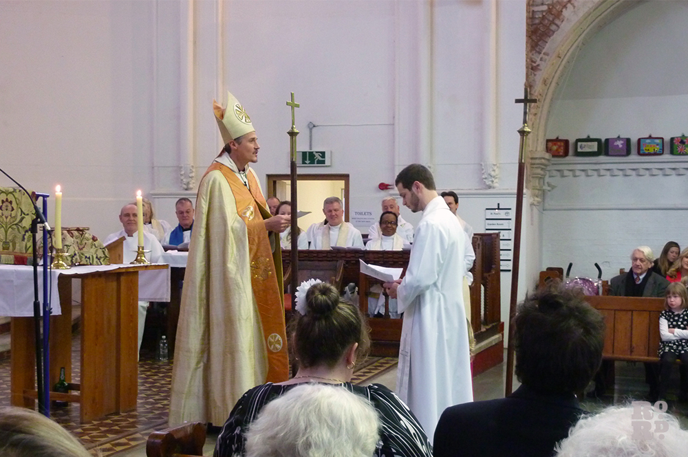 Bishop of Stepney leading the installation service for new St Paul's vicar James Hughesdon