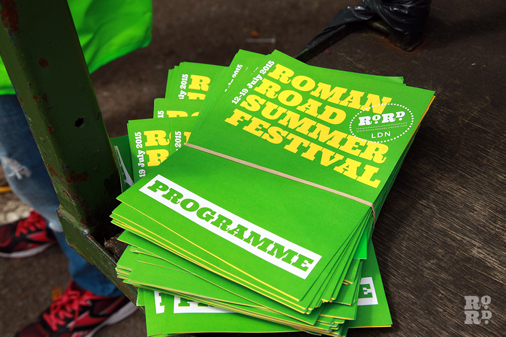 Roman Road Summer Festival printed programme, green and yellow