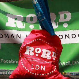 Red RoRdLDN shopping tote at Roman Road Festival