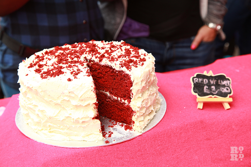 Red velvet cake with butter icing at Roman Road Festival