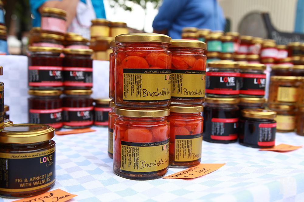 Homemade Love Jam jam jars for sale at festival market