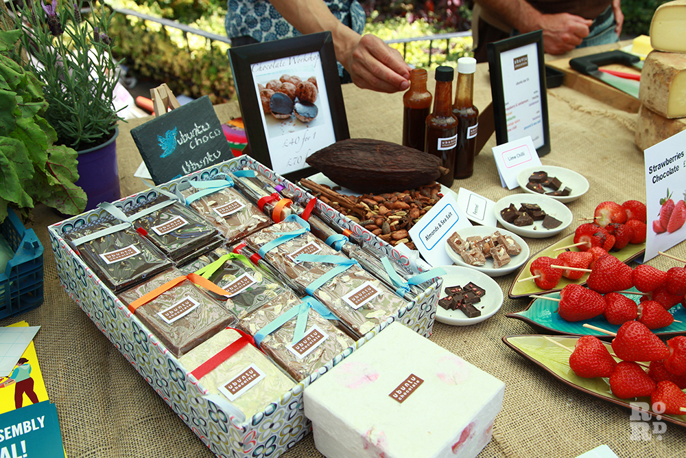 Bars of handmade local chocolate gifts at Roman Road Festival