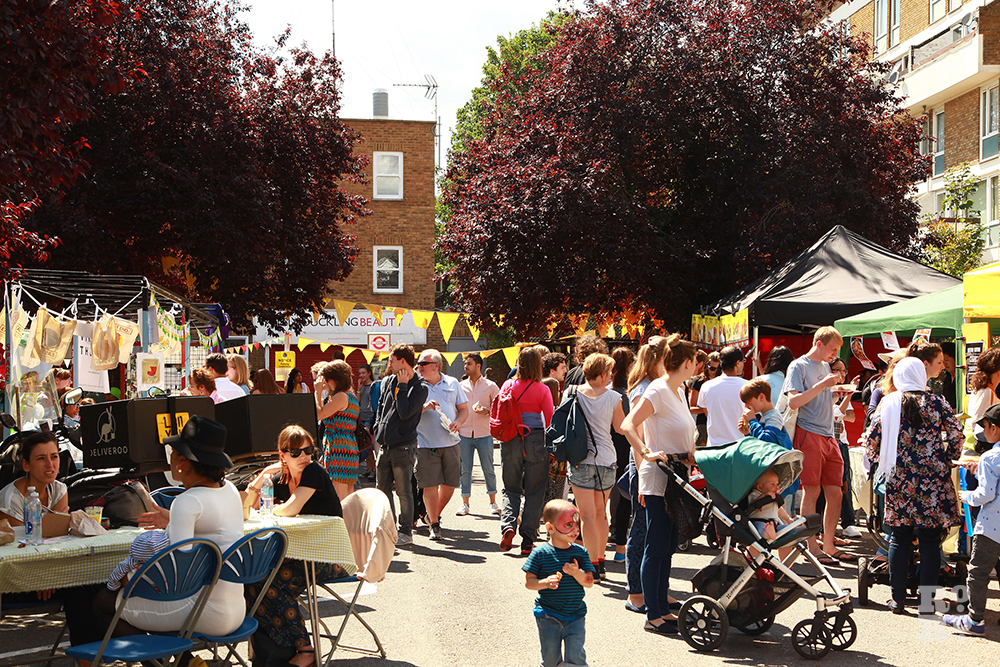 Crowds getting food at Roman Road Festival