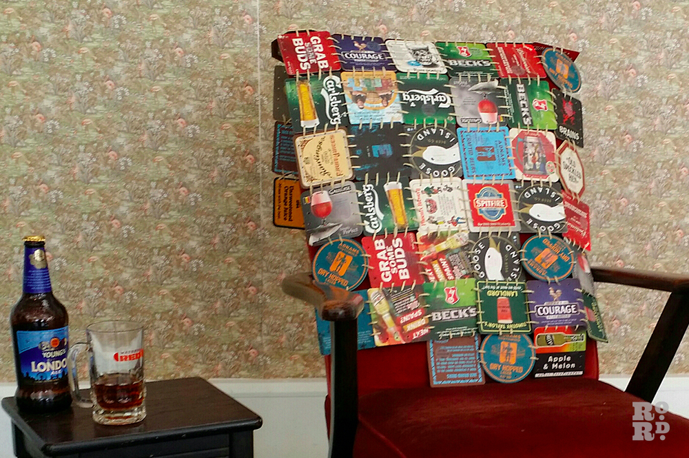 Comfort blanket made up of beer mats
