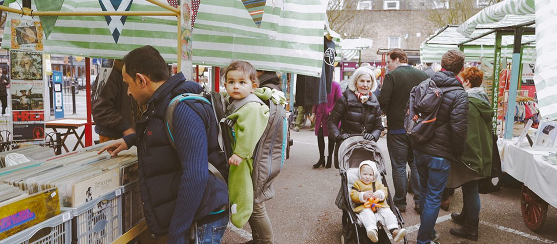 Roman Road Yard Market launch event - shoppers with children