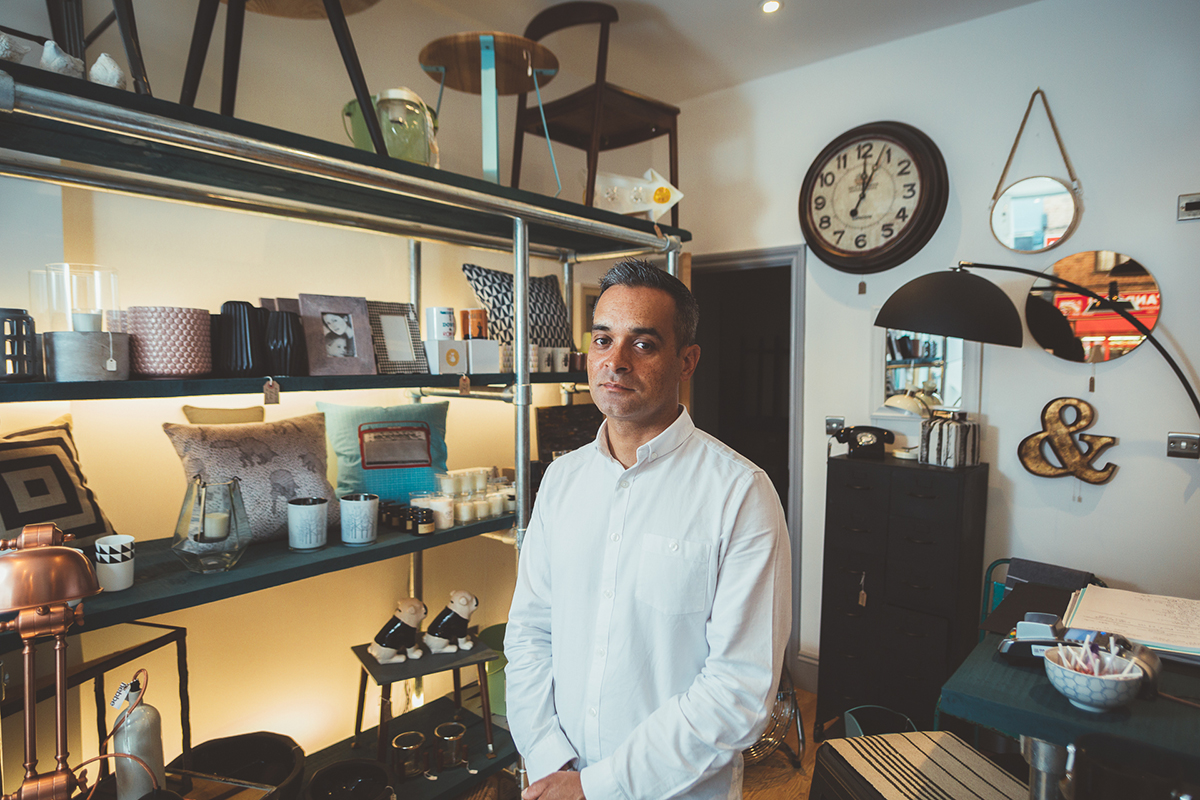 Owner Corey Archer in his store Corey Homeware, Roman Road, East London