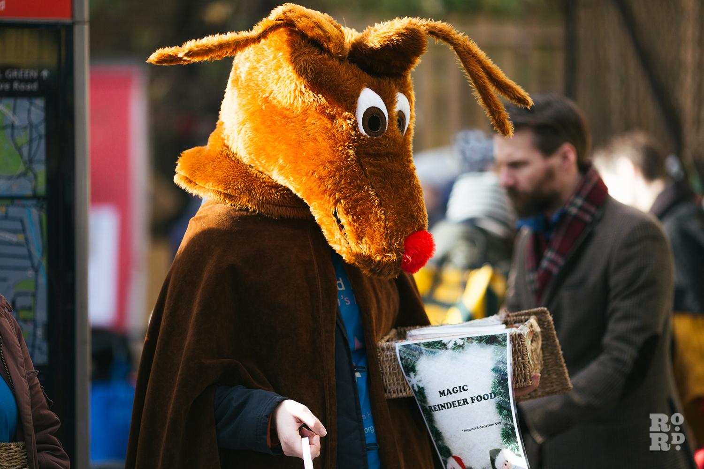 Fancy dress Rudolf the Reindeer costume at Roman Road Christmas Fair 2016 © Roman Koblov