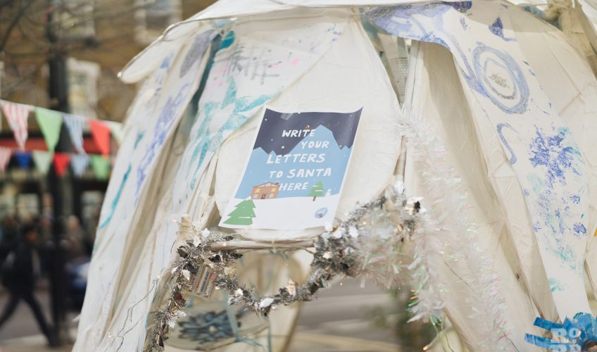 Paper igloo at Roman Road Christmas Fair 2016 © Roman Koblov