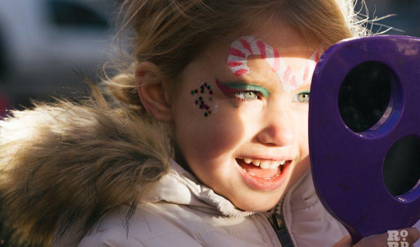 Happiness of facepainting at Roman Road Christmas Fair 2016 © Roman Koblov