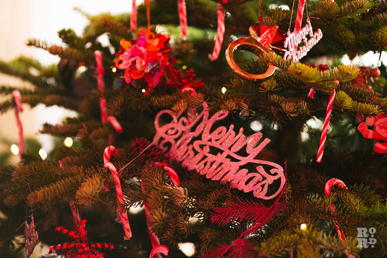 Christmas Tree decorations at Roman Road Christmas Fair 2016 © Roman Koblov