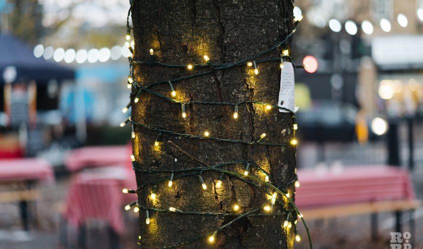 Festive lighting at Roman Road Christmas Fair 2016