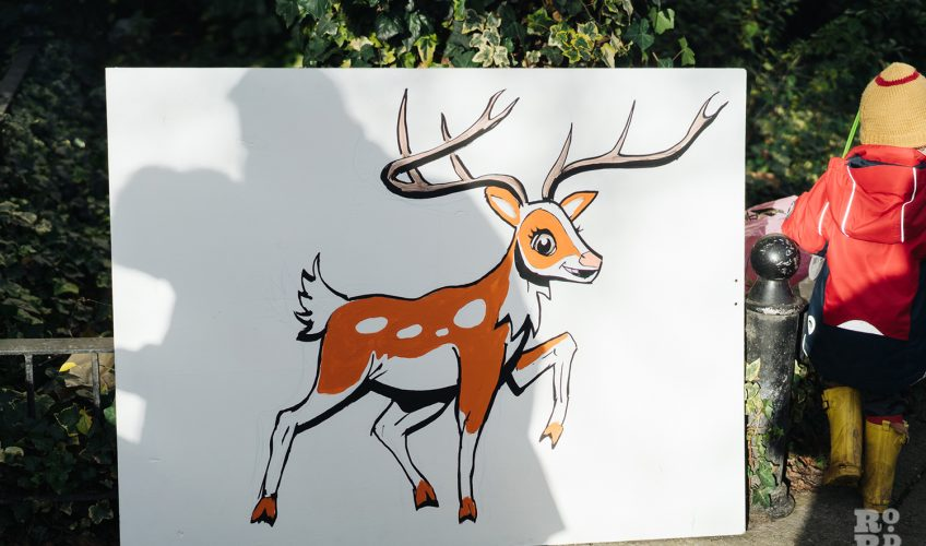 Pin the red nose on the reindeer at Roman Road Christmas Fair 2016