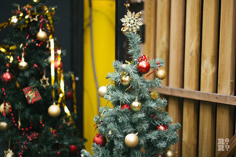 Decorated christmas trees at Roman Road Christmas Fair 2016
