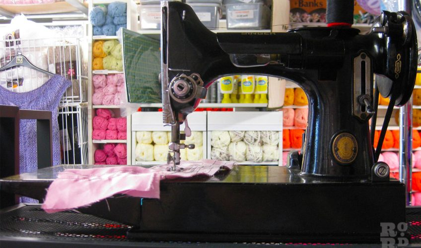 Sewing machine in sewing shop