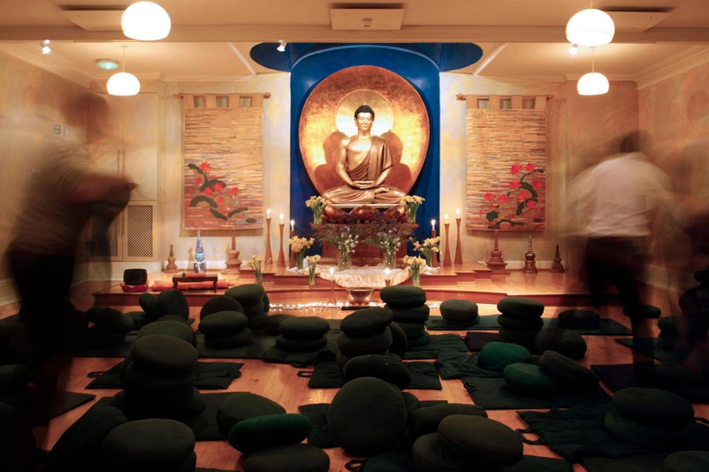 Meditation cushions at the London Buddhist Centre in East London