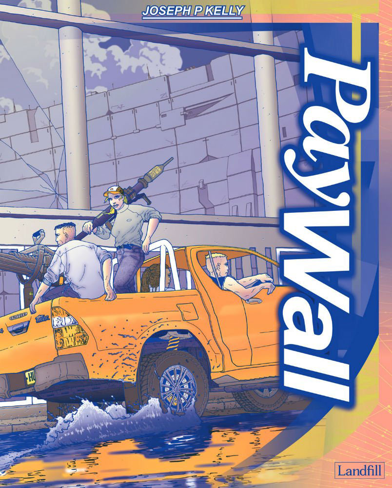 Illustration in comic book style of two men on an orange 4x4 truck