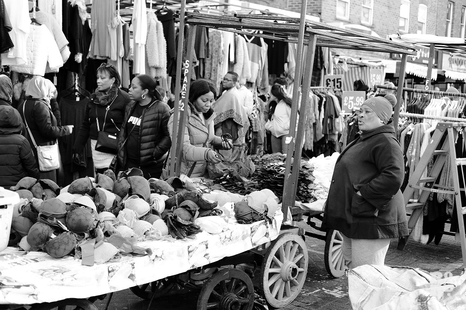 Roman Road Market female black Afro-Caribbean woman trader selling women's underwear