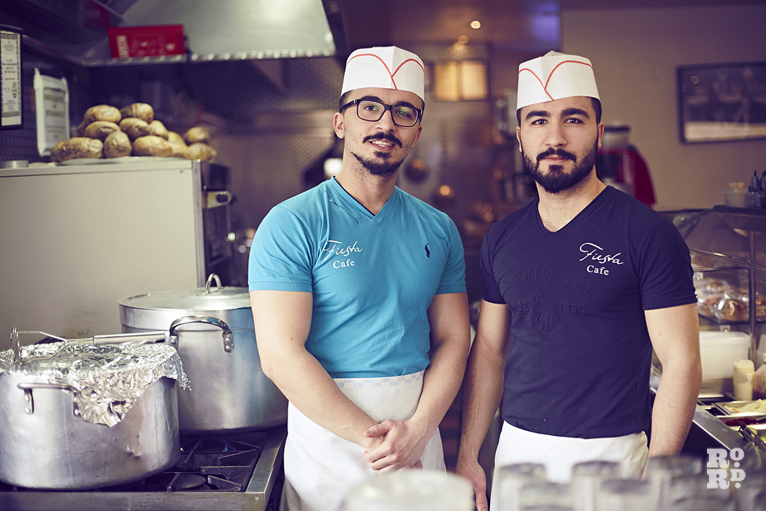Two chefs at Fiesta cafe on Roman Road, East London